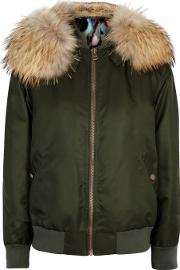 Army Green Fur Lined Bomber Jacket