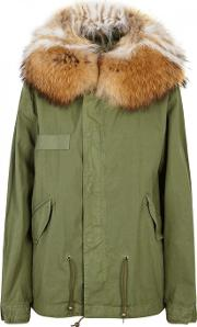 Army Green Fur Trimmed Cotton Parka
