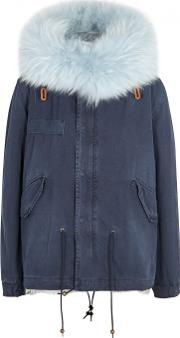 Navy Fur Lined Cotton Parka