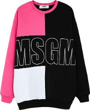 Panelled Logo Printed Cotton Jumper