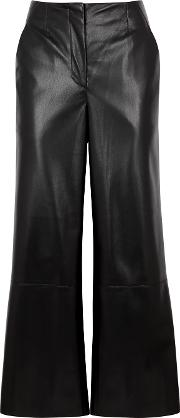 Africa Black Faux Leather Trousers
