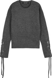 Grey Lace Up Wool Jumper