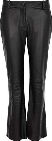 Caden Black Kick Flared Leather Trousers