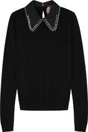 Embellished Wool And Silk Blend Jumper