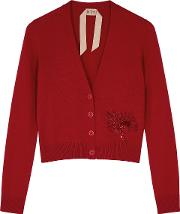 Red Sequin Embellished Cashmere Cardigan