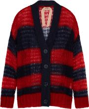 Striped Mohair Blend Cardigan