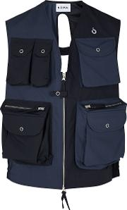 Navy Panelled Shell Gilet