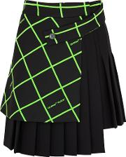 Off White Black Pleated Stretch Twill Wrap Skirt