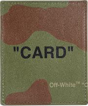 Off White Camouflage Print Leather Card Holder