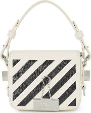 Off White Diag Baby White Leather Cross Body Bag