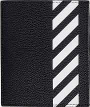 Off White Diag Printed Leather Card Holder