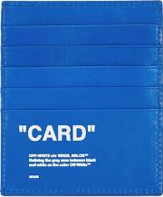 Off White Electric Blue Leather Card Holder