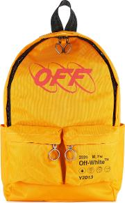 Off White Industrial Yellow Printed Canvas Backpack