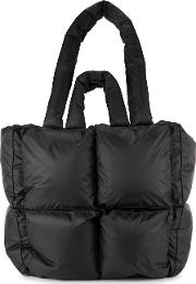 Off White Puffy Black Quilted Shell Tote