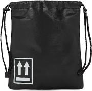 Off White Small Black Leather Pouch