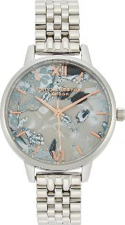 Abstract Florals Silver Plated Watch