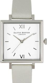 Big Square Dial Silver Plated Watch