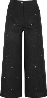 Black Studded Cropped Jeans