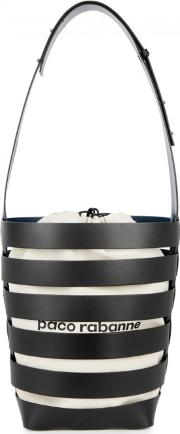 Caged Leather And Canvas Bucket Bag