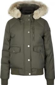 Margaret Army Green Fur Trimmed Parka Size Xs