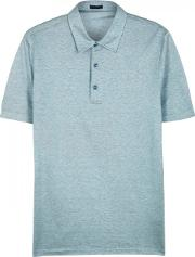 Pale Teal Cotton And Silk Blend Polo Shirt Size L