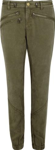 Olive Washed Tencel Cargo Trousers Size L