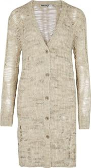 Sand Laddered Open Knit Cardigan Size M