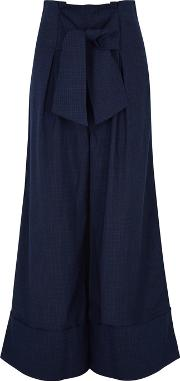Twin Cropped Checked Trousers