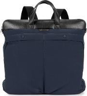 Navy Leather Trimmed Backpack