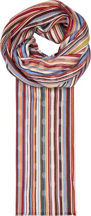 Striped Polka Dot Twill Jacquard Scarf