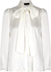 Ivory Satin Bow Neck Blouse