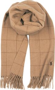 Camel Checked Wool Scarf