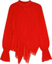 Red Ruffled Georgette Blouse