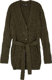 Army Green Cable Knit Wool Cardigan