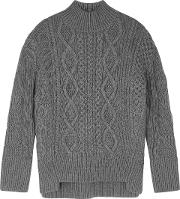 Grey Cable Knit Wool Jumper