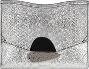 Small Silver Python Effect Clutch