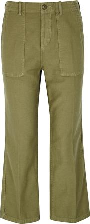 Army Green Twill Cargo Trousers
