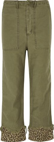 Olive Cropped Printed Cuff Trousers