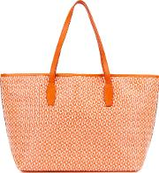 Small Orange Raffia Tote