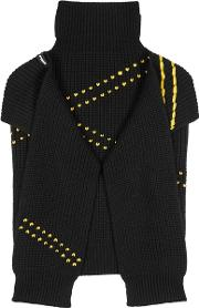 Black Embroidered Wool Scarf