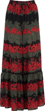 Black Floral Print Silk Trousers