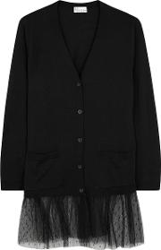 Black Wool And Point D'esprit Cardigan
