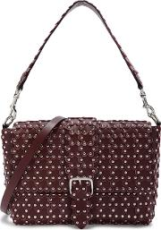 Flower Puzzle Bordeaux Leather Shoulder Bag