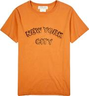 Nyc Orange Cotton T Shirt