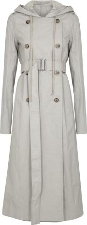 Grey Hooded Coated Twill Trench Coat
