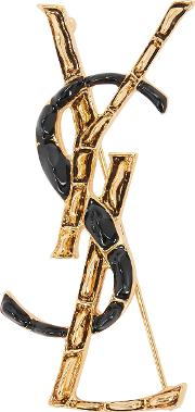 Black And Gold Tone Logo Brooch