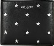 Black Star Print Leather Wallet