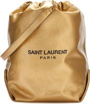 Teddy Gold Leather Bucket Bag