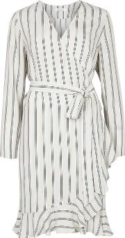 Limon Striped Crepe Wrap Dress
