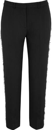 Louisa Black Lace Trimmed Crepe Trousers